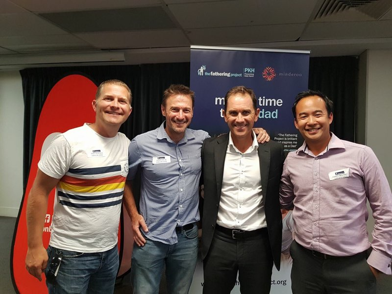 Some of the Edgemen meet cricket legend Justin Langer, at a Fathering Project event.