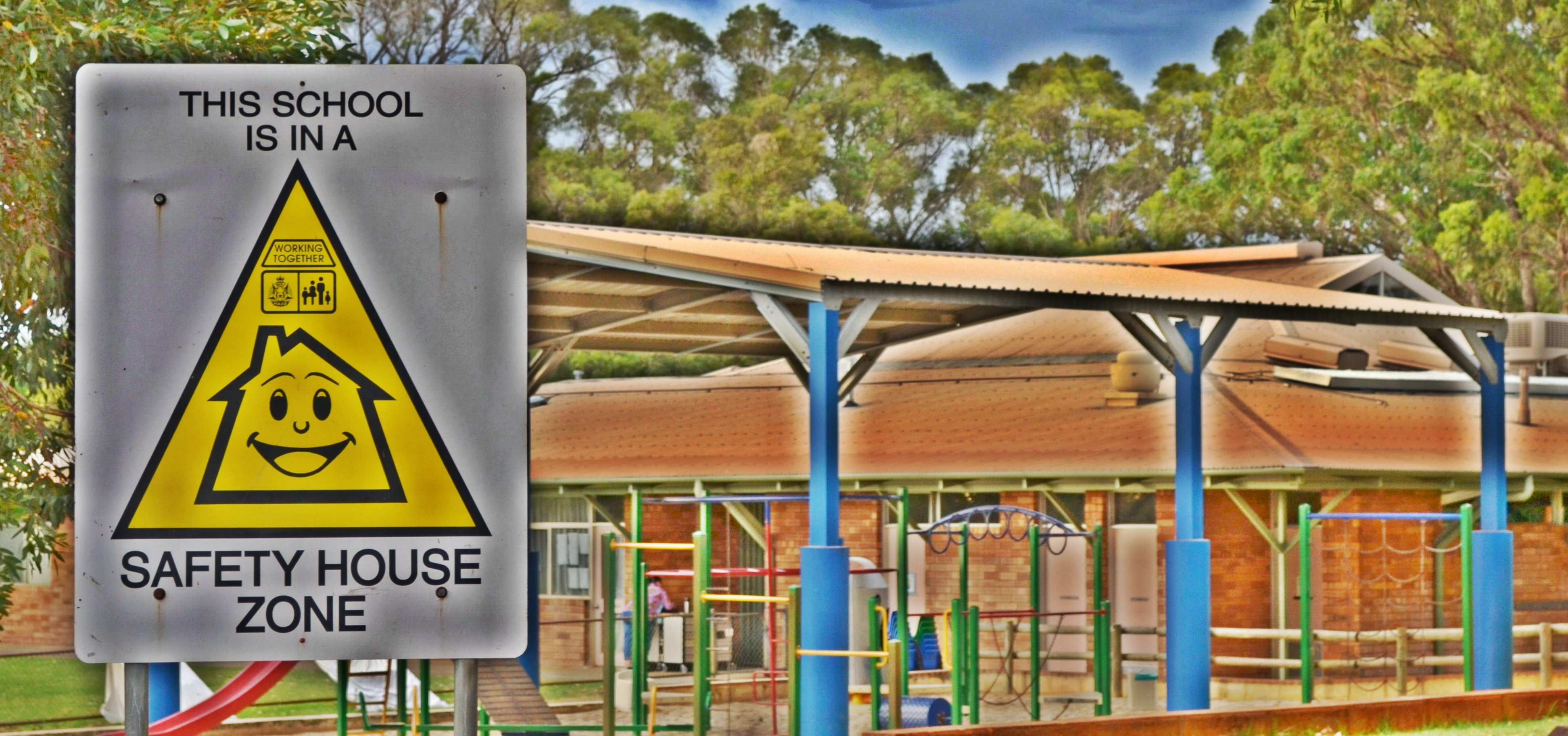 School safety house sign